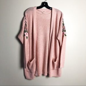 Mossimo Embroidered Shoulder Open Front Cardigan